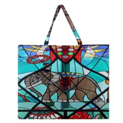 Elephant Stained Glass Zipper Large Tote Bag