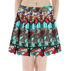 Elephant Stained Glass Pleated Mini Skirt
