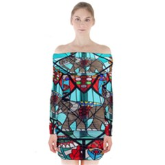 Elephant Stained Glass Long Sleeve Off Shoulder Dress