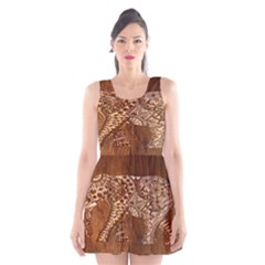 Elephant Aztec Wood Tekture Scoop Neck Skater Dress