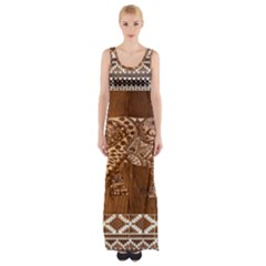 Elephant Aztec Wood Tekture Maxi Thigh Split Dress