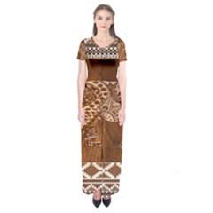 Elephant Aztec Wood Tekture Short Sleeve Maxi Dress