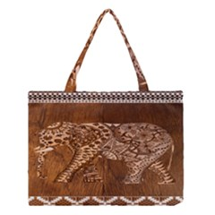 Elephant Aztec Wood Tekture Medium Tote Bag