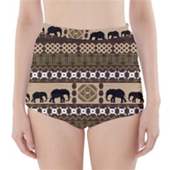 Elephant African Vector Pattern High-Waisted Bikini Bottoms