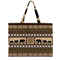 Elephant African Vector Pattern Large Tote Bag