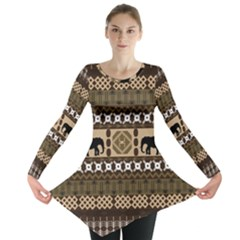 Elephant African Vector Pattern Long Sleeve Tunic
