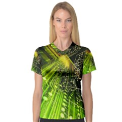 Electronics Machine Technology Circuit Electronic Computer Technics Detail Psychedelic Abstract Patt Women s V-Neck Sport Mesh Tee