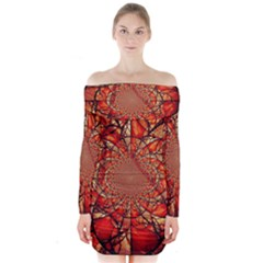 Dreamcatcher Stained Glass Long Sleeve Off Shoulder Dress