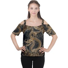 Dragon Pentagram Women s Cutout Shoulder Tee