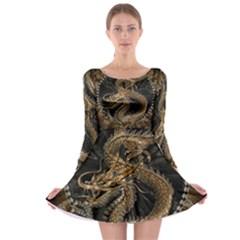 Dragon Pentagram Long Sleeve Skater Dress