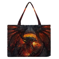 Dragon Legend Art Fire Digital Fantasy Medium Zipper Tote Bag