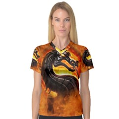 Dragon And Fire Women s V-Neck Sport Mesh Tee