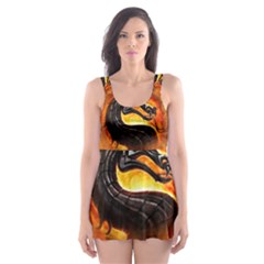 Dragon And Fire Skater Dress Swimsuit