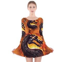 Dragon And Fire Long Sleeve Velvet Skater Dress