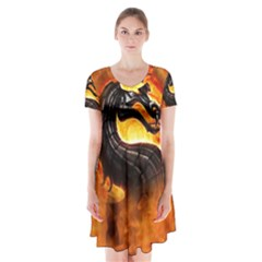 Dragon And Fire Short Sleeve V-neck Flare Dress
