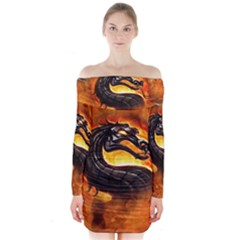 Dragon And Fire Long Sleeve Off Shoulder Dress