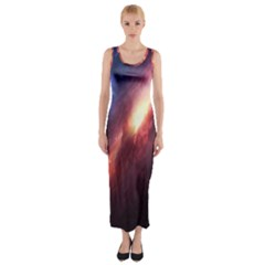 Digital Space Universe Fitted Maxi Dress