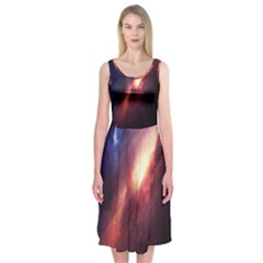Digital Space Universe Midi Sleeveless Dress