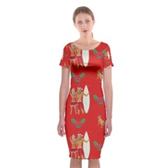 Digital Paper Surfer Couple Classic Short Sleeve Midi Dress