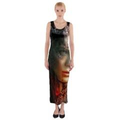 Digital Fantasy Girl Art Fitted Maxi Dress