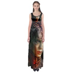 Digital Fantasy Girl Art Empire Waist Maxi Dress