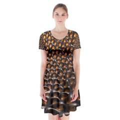 Digital Blasphemy Honeycomb Short Sleeve V-neck Flare Dress