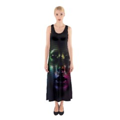 Digital Art Psychedelic Face Skull Color Sleeveless Maxi Dress
