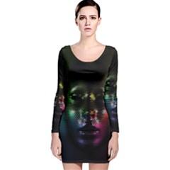 Digital Art Psychedelic Face Skull Color Long Sleeve Velvet Bodycon Dress