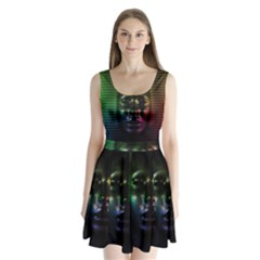 Digital Art Psychedelic Face Skull Color Split Back Mini Dress