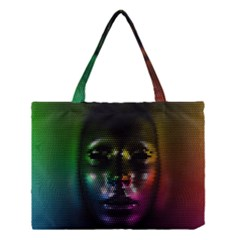 Digital Art Psychedelic Face Skull Color Medium Tote Bag