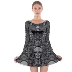 Dark Horror Skulls Pattern Long Sleeve Skater Dress