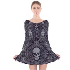 Dark Horror Skulls Pattern Long Sleeve Velvet Skater Dress