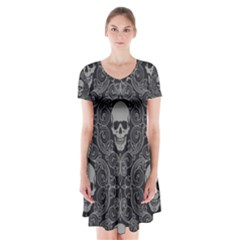 Dark Horror Skulls Pattern Short Sleeve V-neck Flare Dress