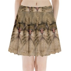 Cute Persian Cat,face In Closeup Pleated Mini Skirt