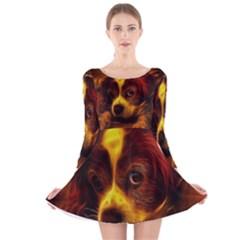 Cute 3d Dog Long Sleeve Velvet Skater Dress
