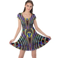 Curves Color Abstract Cap Sleeve Dresses