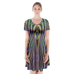 Curves Color Abstract Short Sleeve V-neck Flare Dress
