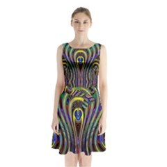 Curves Color Abstract Sleeveless Chiffon Waist Tie Dress