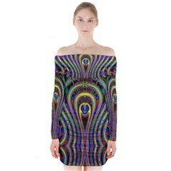 Curves Color Abstract Long Sleeve Off Shoulder Dress
