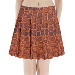 Crocodile Skin Texture Pleated Mini Skirt