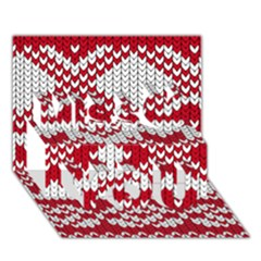 Crimson Knitting Pattern Background Vector Miss You 3D Greeting Card (7x5)
