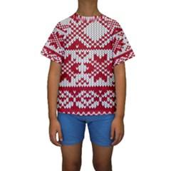Crimson Knitting Pattern Background Vector Kids  Short Sleeve Swimwear