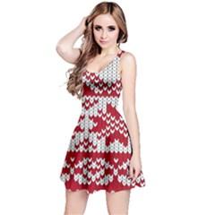 Crimson Knitting Pattern Background Vector Reversible Sleeveless Dress