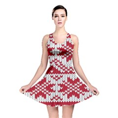 Crimson Knitting Pattern Background Vector Reversible Skater Dress