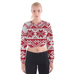 Crimson Knitting Pattern Background Vector Women s Cropped Sweatshirt