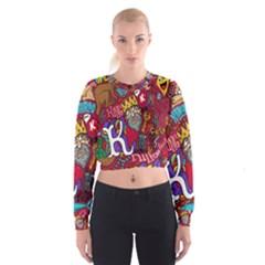 K Pattern Cartoons Women s Cropped Sweatshirt