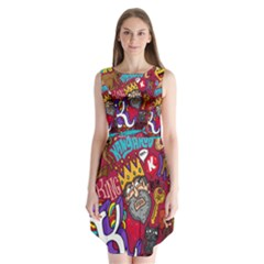 K Pattern Cartoons Sleeveless Chiffon Dress