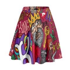 K Pattern Cartoons High Waist Skirt