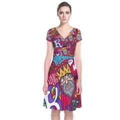 K Pattern Cartoons Short Sleeve Front Wrap Dress