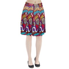 K Pattern Cartoons Pleated Skirt